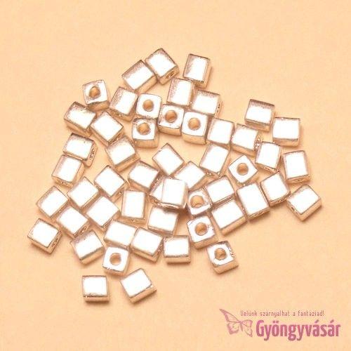Galvanizált ezüstszínű Miyuki kockagyöngy, 4 mm (5 g) • Gyöngyvásár.hu