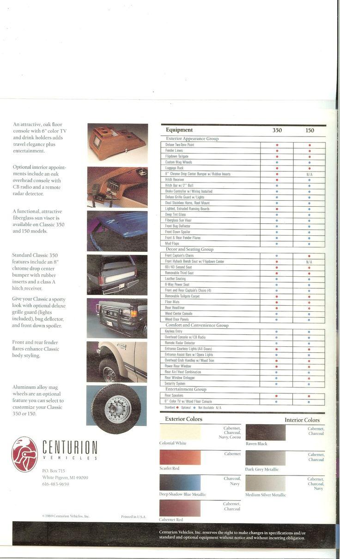1989 ford 4 door bronco centurion conversion brochure