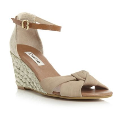 dune ladies nude front knot espadrille wedge sandal