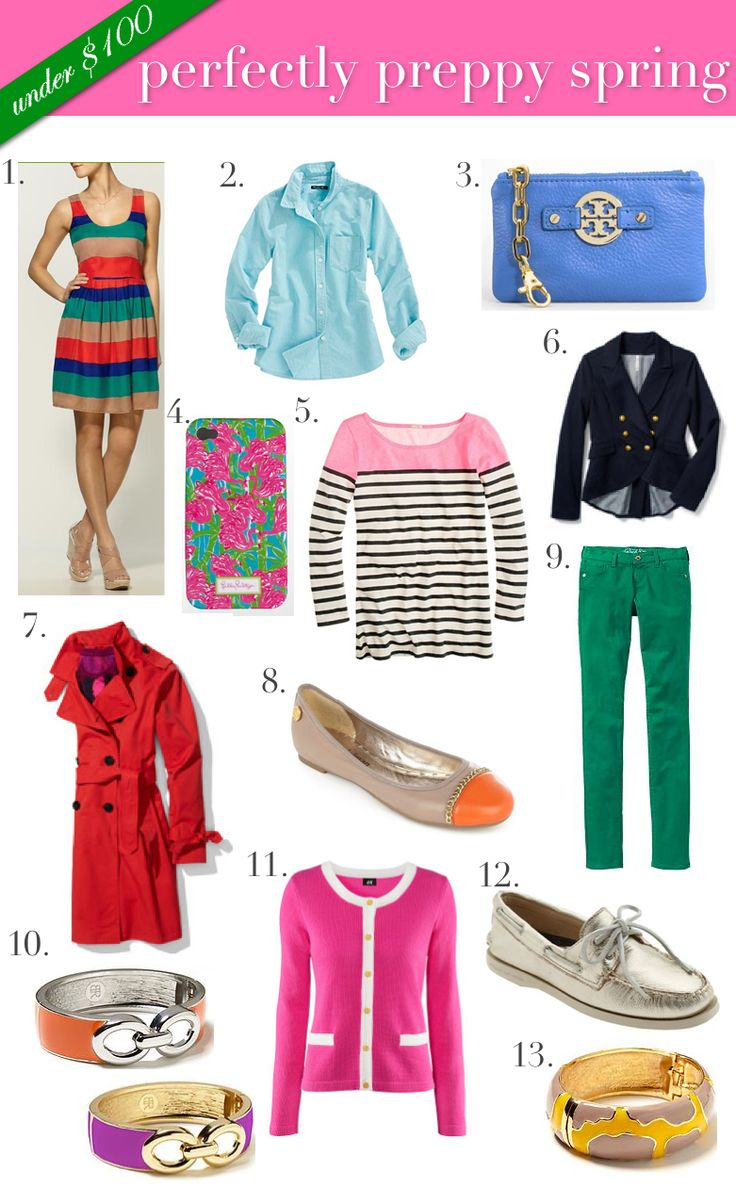 Under $100 Dollar Preppy Must Haves for spring. Those green pants are adorable! What's your style?