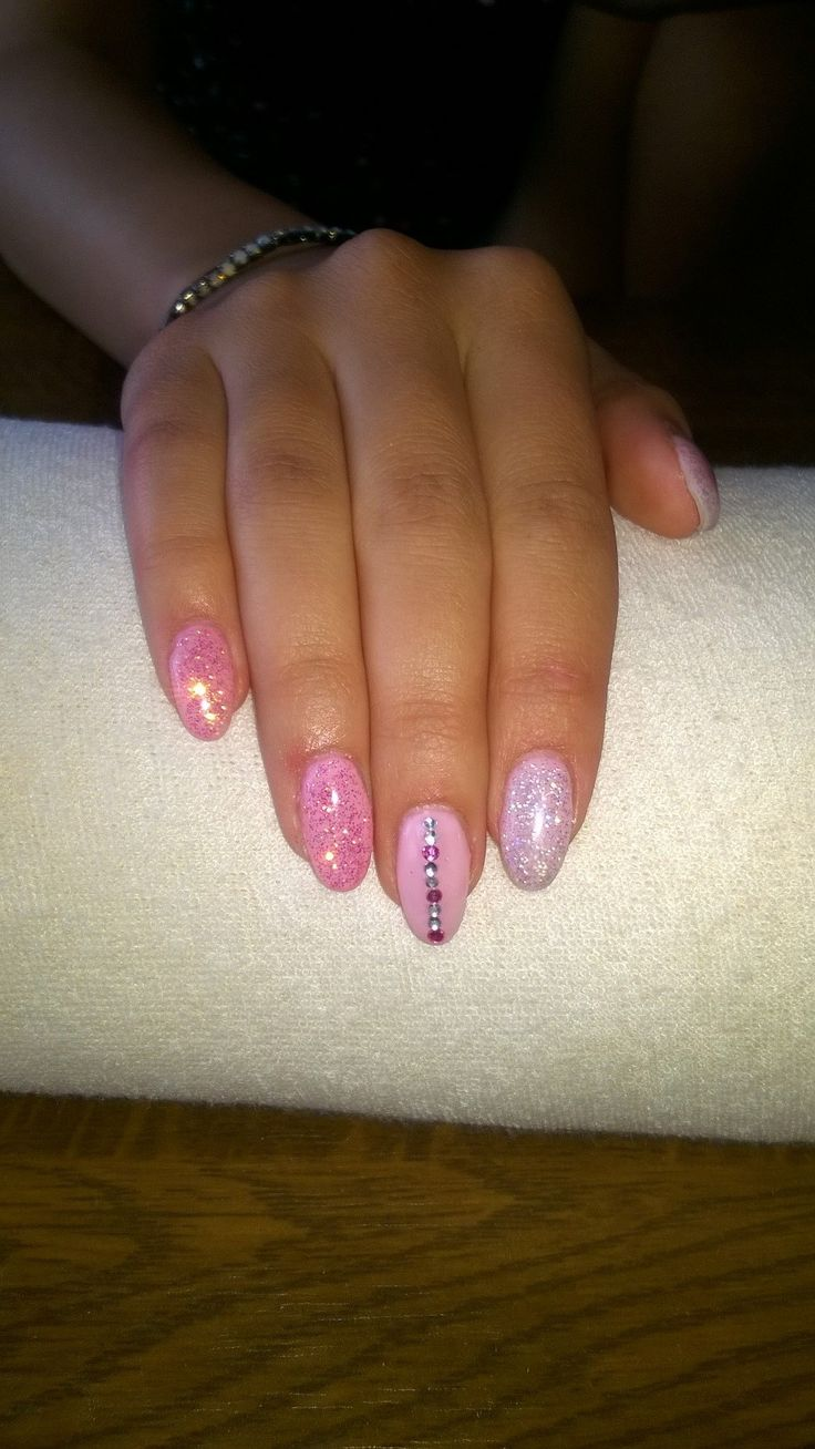 pink gel, pink and silver glitter
