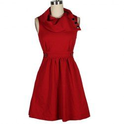 Vintage Draped Neck Buttons Embellished Solid Color Country Dress For