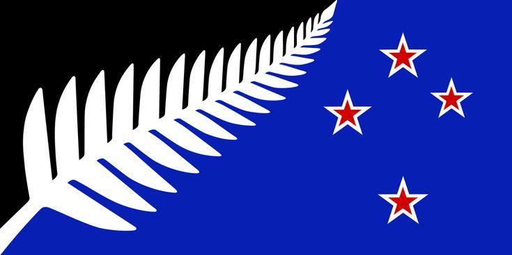 NZ flag design Silver Fern (Black, White & Blue) by Kyle Lockwood - New Zealand flag debate - Wikipedia, the free encyclopedia