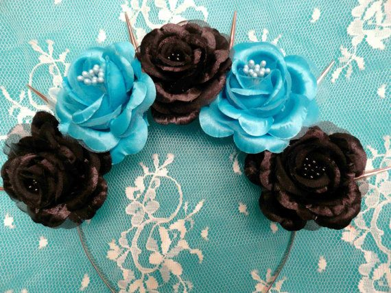 Goth flower crown spikes: Corpse Bride-Pastel by Voxpopulijewelry