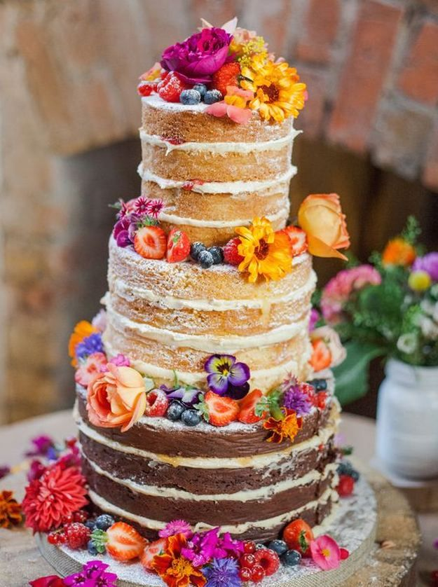 Naked Wedding Cake | 15 Stunning Wedding Cakes For A Unique Wedding | Make Your Wedding Extra Special with these Beautiful, Elegant and Creative Cake Ideas | http://homemaderecipes.com/15-stunning-wedding-cakes/