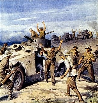 North African Campaign-Italian invasion of Egypt. 'British armored captured by the Italians' from La Domenica del Corriere, 25 August 1940. illustration of A. Beltrame. On 13 September 1940, about four divisions were used when elements of the Tenth Army advanced into Egypt. Four infantry divisions and the 'Maletti Group' marched one hundred kilometers in four days. The Italians stopped when they got to Sidi Barrani. Pin by Paolo Marzioli