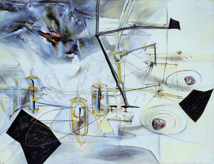The Bachelors Twenty Years After by Roberto Matta, 1943. The title refers to this piece by Marcel Duchamp.
