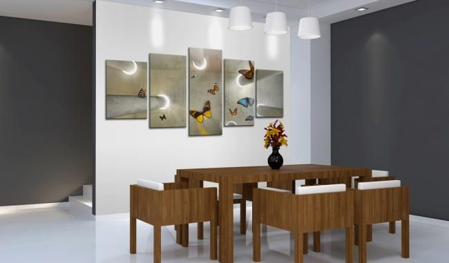 Jasny wieloczęściowy obraz 3D z motylami. Idealna dekoracja do nowoczesnego wnętrza - salonu, jadalni lub holu