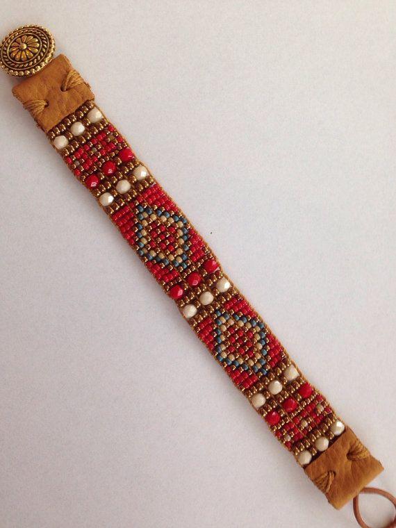 Fiesta Red Hand Loomed Beaded Bracelet. by FlyByNightBracelets