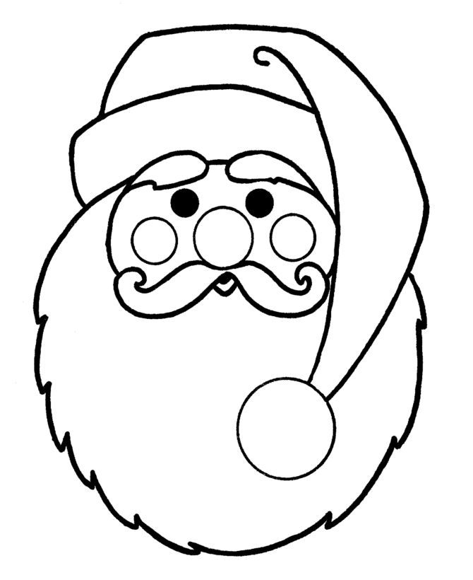 Christmas Santa Face Printable Coloring Pages Printable Coloring