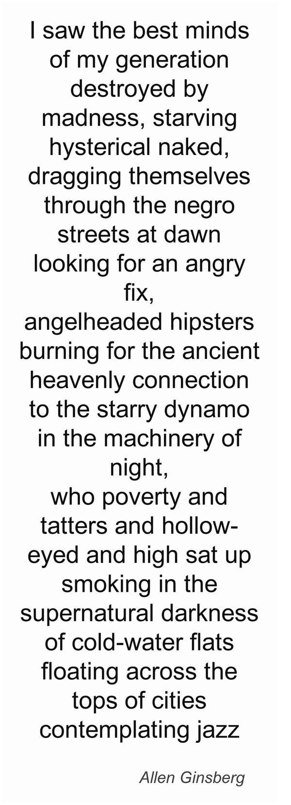 (C) Allen Ginsberg, les premières lignes du poème culte de la Beat Generation Howl #UneSource