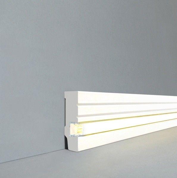 """Licht - Fußleisten / Licht - Sockelleisten """"Rostock"""" (MDF foliert / 721.1558L) - weiß - LED - Fußleisten und LED - Treppenkanten - LICHT"""