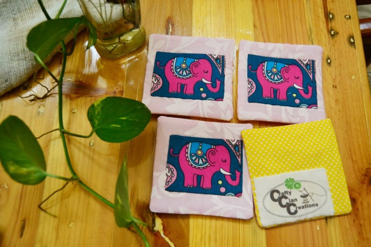 Elephant <3 Set of 4 pcs single coaster.  Find more on Crafty Clan Creations page https://www.facebook.com/CraftyClanCreations