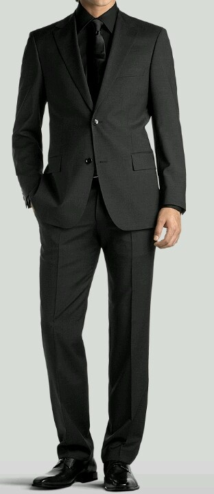 Hugo Boss two button. I have this suit. With the dark shirt and tie its perfect for evening events.