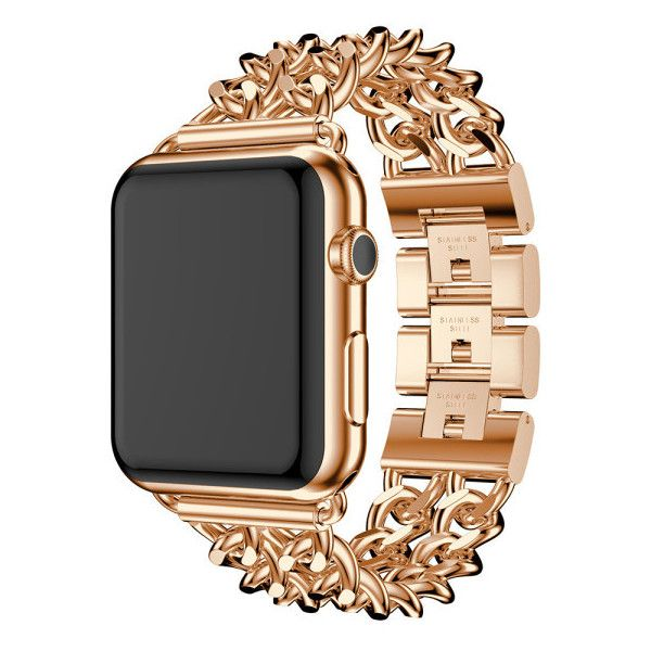 Apple Watch Metal Link Replacement Band ($20) ❤ liked on Polyvore featuring jewelry, watches, jewelry & watches, rose gold, metal watches, metal jewelry, metal jewellery, unisex watches and apple watches