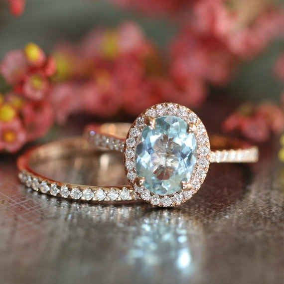 Conjunto de anillos LaMoreDesign de aguamarina y diamante $1,483+