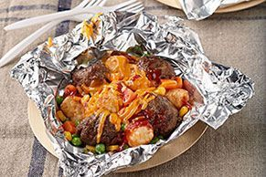 Packets of meatballs and tater tot all-in-one – dinners pack sheet – #allinone …   – Foil Pack Recipes