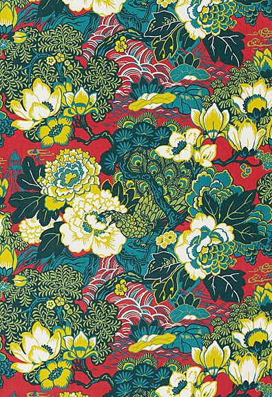 Shanghai Peacock  Cerise, by Schumacher. This stylized chinoiserie print is adapted from a 1920s French textile painting, reinterpreted in a palette of intense and saturated multi-hued colorway.
