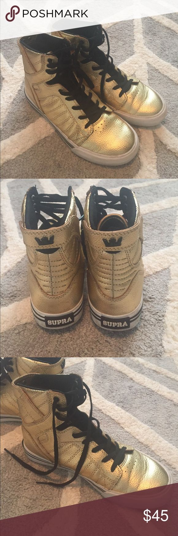 Gold Supra Hi Top Great condition! Supra Shoes Sneakers