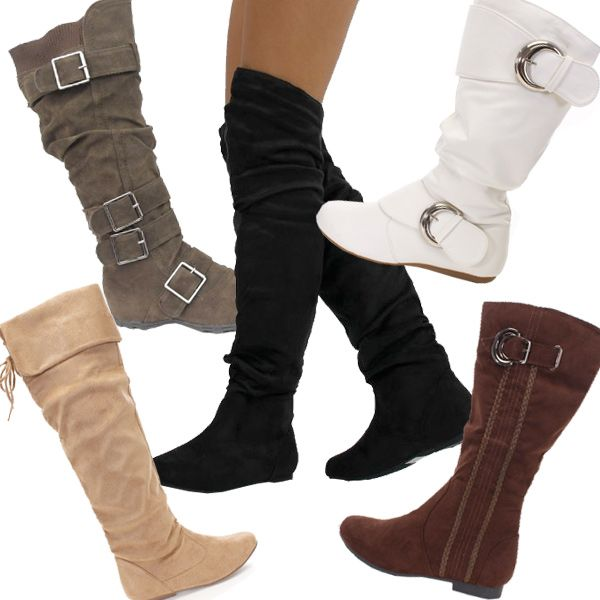Cute Boots for Teens | ... Boots , Black Slouchy Over The Knee Boots , White Buckle Boots , Brown