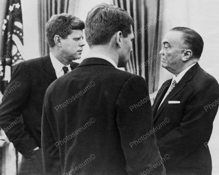 U.S President Kennedy & FBI Chief E Hoover Vintage 1960s Reprint 8x10 Old Photo