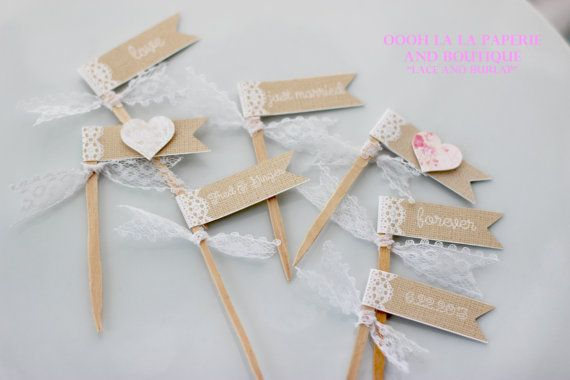 "Beautiful ""lace and burlap""cupcake flags made to look like lace and burlap with a special message, perfect for weddings, showers, tea parties, and even baptisms.  Text will be customized so perfect for any occasion.  Cupcake Flags Set of 12 by ooohlalapaperie on Etsy, only $5.00"