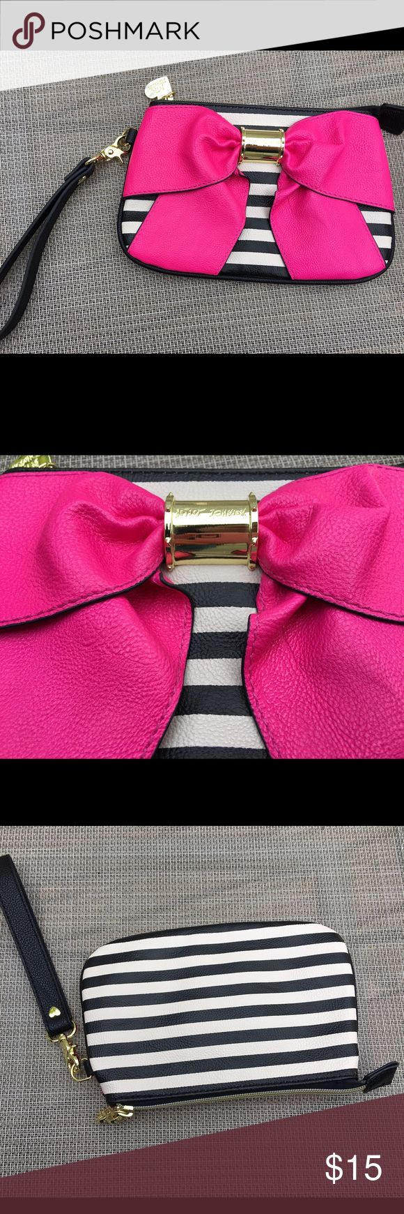 Betsy Johnson clutch Betsy Johnson striped clutch with bow. Like new condition. Non smoking home Bags Clutches & Wristlets