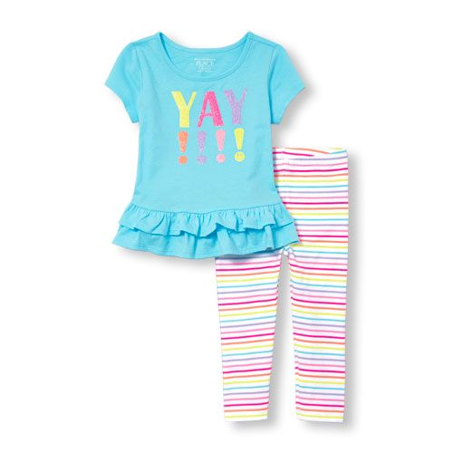 s Toddler Short Sleeve Glitter 'Yay' Graphic Double Ruffle-Hem Top And Striped Leggings Set - Blue - The Children's Place