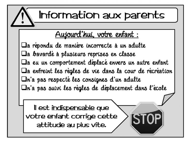 Communication avec les parents
