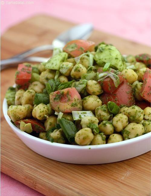 Chick Pea Salad with Mint Dressing recipe   Indian Low Fat Recipes   by Tarla Dalal   Tarladalal.com   #3596
