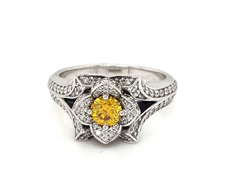 18ct White Gold Natural Vivid Yellow Diamond (0.40ct) and White Diamond (0.65ct) Ring - $12,800- #yellowdiamond #ring #engagement #whitegold #diamond #lghumphries #humphries #sydney #australia