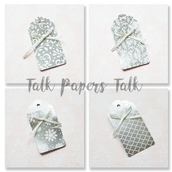 10  Silver wedding favor gift tags  Gift tags by TalkPapersTalk