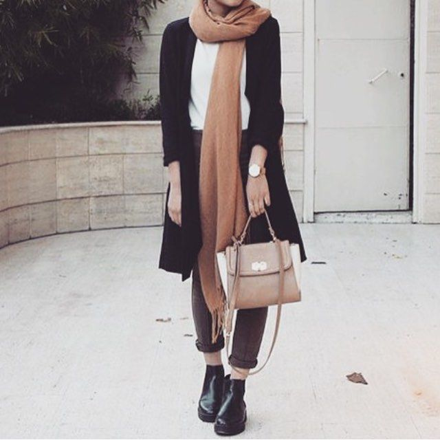 black cardigan coat blazer, camel scarf, white top, pants