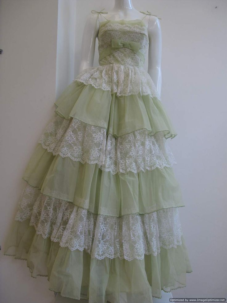 Vintage Lace and green tiered party dress