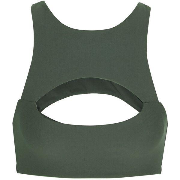 Mikoh Marrakesh cutout bikini top (£110) ❤ liked on Polyvore featuring swimwear, bikinis, bikini tops, tops, crop top, bikini, swim, swimsuit, green and green bikini top