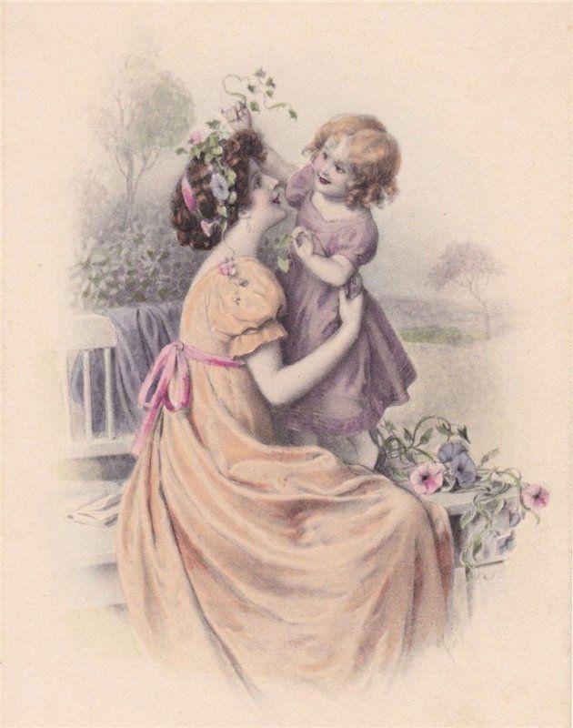 Открытки, старинные открытки с мамами