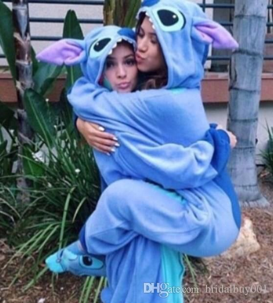 Hot Sell Stitch Blue Flannel Animal Pajamas Unisex Mascot Costumes For Teenagers Lovely Sleepwear 2016 Cheap