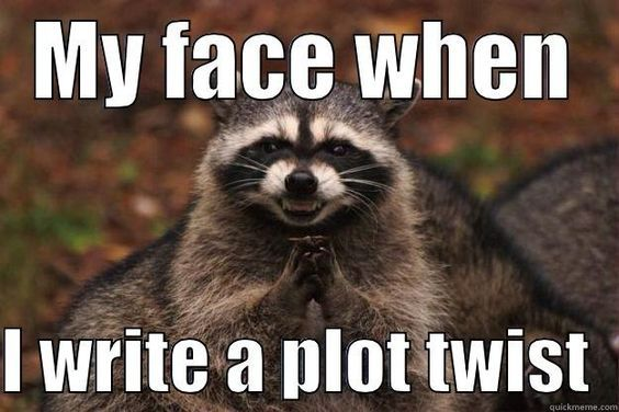 y face when I write a plot twist, P.S. Literary Agency, book writer's novelists, Bad Pun Raccoons, Raccoons Ry-Ccoons, Evil plotting raccoon memes