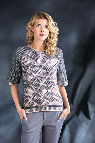 A pair of diamond mosaic patterns on the front of Patrick's pullover crisscross to create an argyle look. Two back pieces are picked up along the side edges of the front and worked in a mosaic slip-stitch pattern to the center back; the sleeves mimic the same pattern. The exposed seams are joined with a three-needle bind-off on the right side. Two-color slip-stitch rib borders the outside edges. The twist of Universal Yarn's Deluxe Worsted beautifully shows off the stitch details.