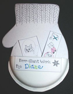 Make a paper plate mitten pocket to hold mitten-related work.  Graphics c Jan Brett: janbrett.com  Since the mitten in the story is white, there's no messy painting involved.  Woo hoo!