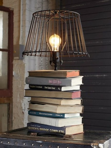 Currently working on making a lamp out of books! So beautiful.