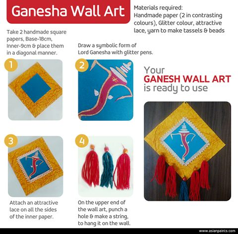 What makes your home ready for the festive season?  Show everyone your festive hand-crafted home-scape. This auspicious season, put your scrapbook supplies to work on some beautiful and easy wall ornaments. Try ours and get inspired to do more... #DIY #GaneshChaturthi #WallArt