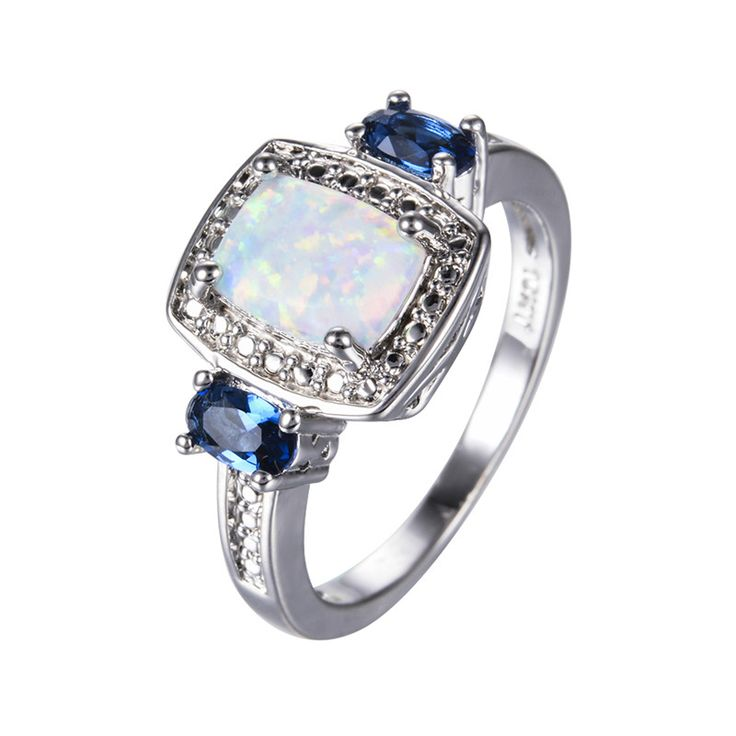 Rectangle White Fire Opal Rings for Women Men Wedding Jewelry White Gold Filled Blue Stone CZ Diamond Crystal Ring RP0080