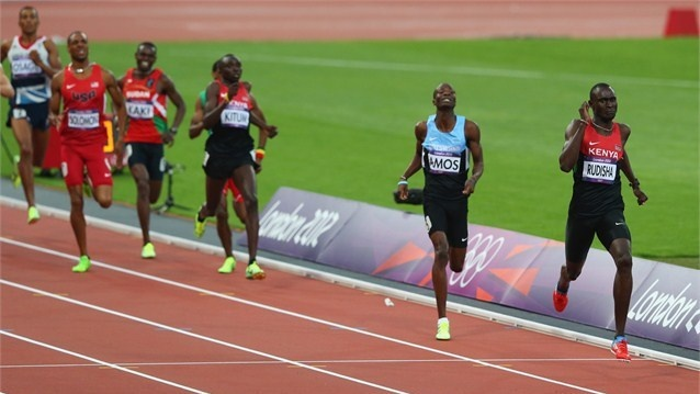 men's 800m  David Lekuta Rudisha of Kenya races to the finish line ahead of Nijel Amos of Botswana to win gold and set a new world record in the men's 800m Final on Day 13 of the London 2012 Olympic Games at the Olympic Stadium.