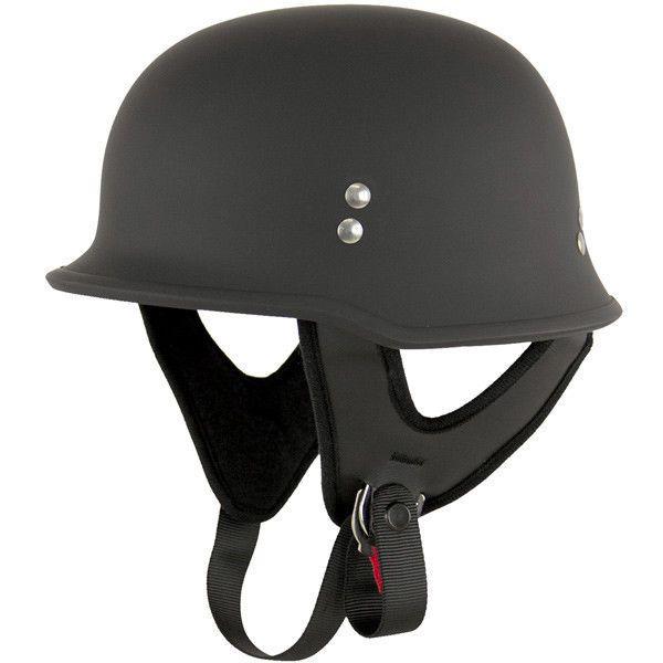 Outlaw T-75 Flat Black Retro German Army Style Motorcycle Half Helmet Skull Cap #outlaw #Motorcycle