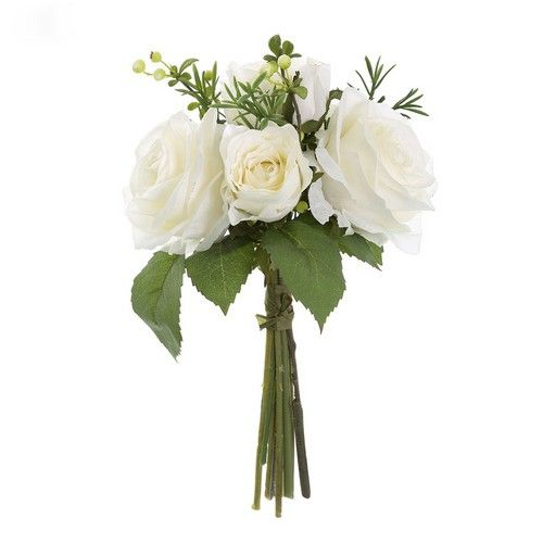 Rose, Berries & Rosemary Bouquet White (27H cm) RRP $15