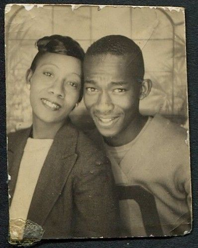 ** Vintage Photo Booth Picture **  African American Preppy couple