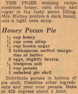 Honey Pecan Pie Recipe Clipping ~ THE PRIZE winning recipe combines honey, corn sirup and sugar in the tasty pecan filling