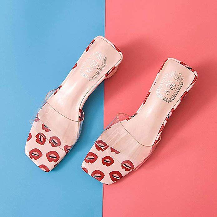 Amazon Com Mioke Women S Clear Low Block Heel Slide Sandals Transparent Mules Open Toe Comfort C Women Accessories Shoes Sandals Heels Women Accessories Bags
