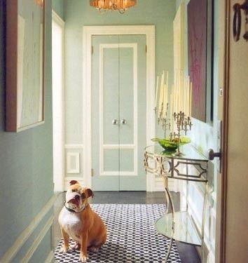 mint green walls, painted closet door, stripe door, foyer, hall